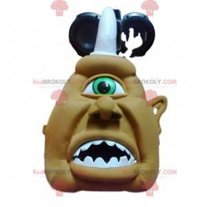 Grusom khaki cyclops maskot og hans hvide horn - Redbrokoly.com