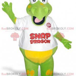Lustiges und buntes grünes und gelbes Drachenmaskottchen -