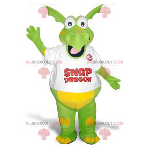 Zábavný a barevný zelený a žlutý drak maskot - Redbrokoly.com