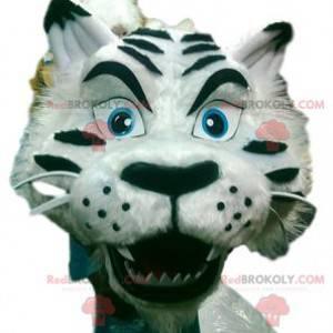 Kongelig hvid tiger maskot med sin smukke frakke -