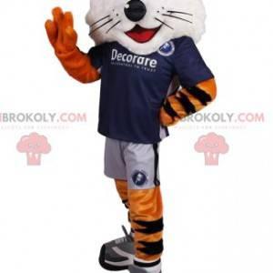Comic Tiger Maskottchen und sein blaues Unterstützertrikot -
