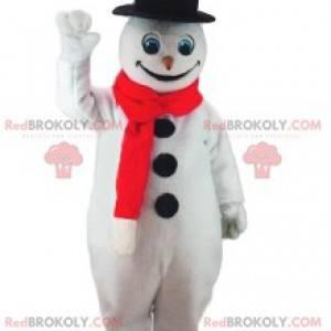 Mascota de muñeco de nieve con su gran sombrero negro -
