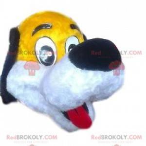 Legrační žlutý pes maskot s velkou černou tlamou -