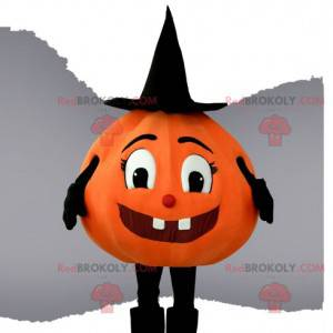Pretty pumpkin mascot with its pointed and black hat -