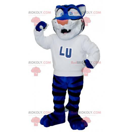 Maskot modrý bílý a černý tygr s bílým svetrem - Redbrokoly.com
