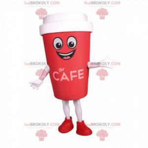Mascotte rossa della tazza di caffè da asporto - Redbrokoly.com