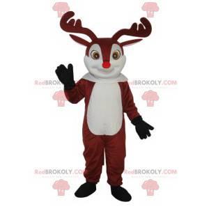 Mascote de rena fofa com nariz vermelho - Redbrokoly.com