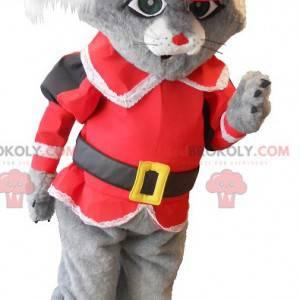 Maskottchenkatze in den grauen Stiefeln mit einem roten Kostüm