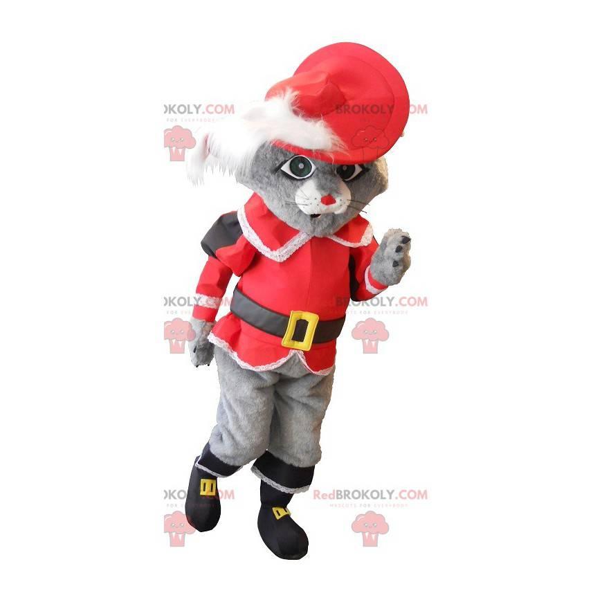 Maskot kočka v botách šedé s červeným kostýmem - Redbrokoly.com