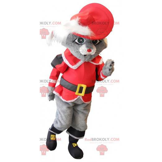 Mascot cat in boots gray with a red costume - Redbrokoly.com
