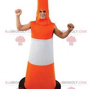 Mascotte del cono di traffico arancione e bianco -