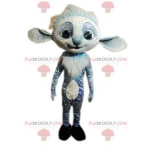 Mascote esquilo cinza e branco com orelhas grandes -