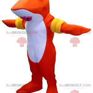 Mascote peixe tubarão laranja e branco com braçadeiras -