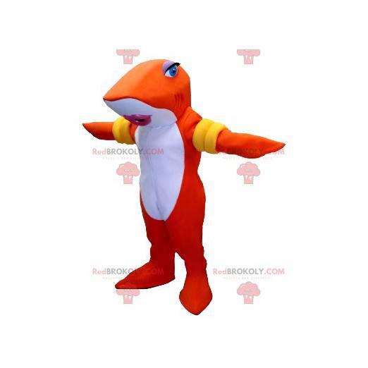 Oranžový a bílý žralok rybí maskot s náramky - Redbrokoly.com