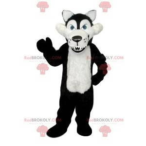 Mascote de lobo cruel preto e branco com suas enormes presas -