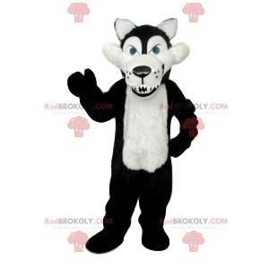 Mascotte lupo crudele in bianco e nero con le sue enormi zanne