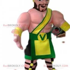 Vicking krijger mascotte en zijn traditionele outfit -