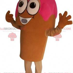 Mascota de cono de helado de fresa - Redbrokoly.com