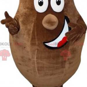 Bruine, dikke aardappelmascotte met een grote glimlach -