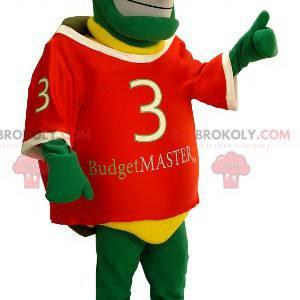 Mascote tartaruga verde e amarela muito sorridente -