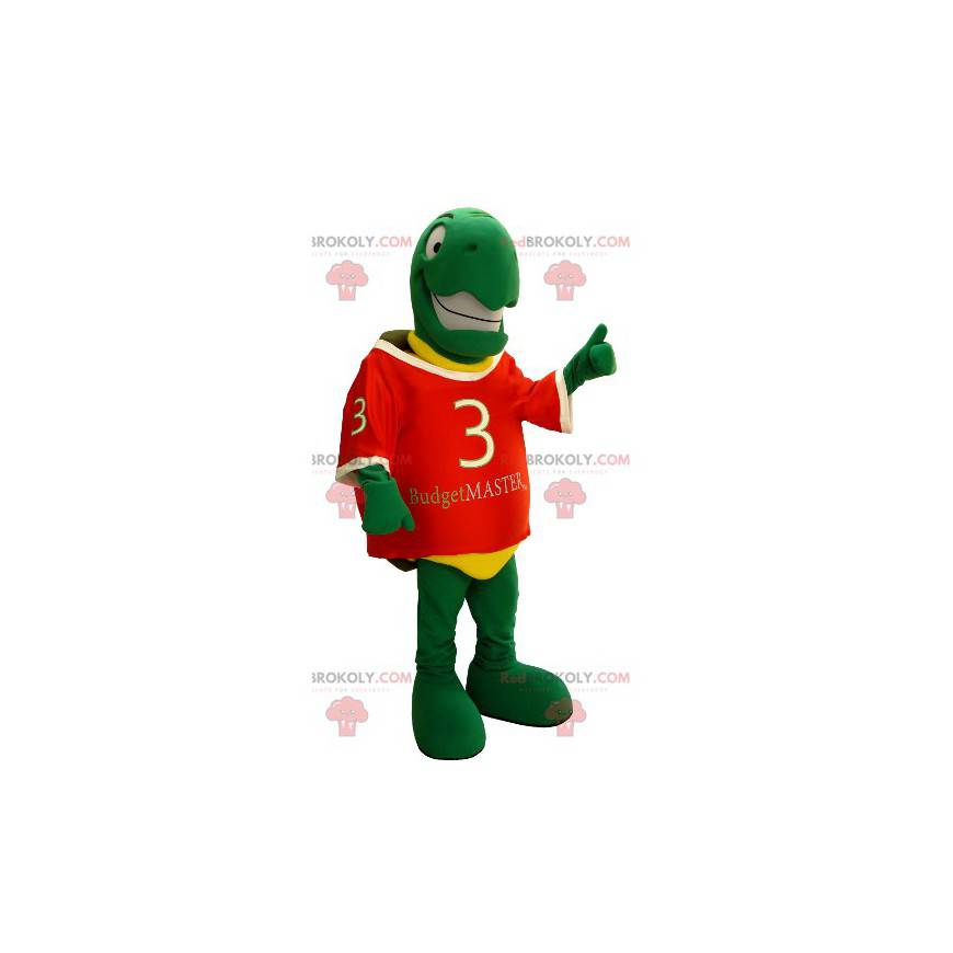 Velmi usměvavý maskot zelené a žluté želvy - Redbrokoly.com