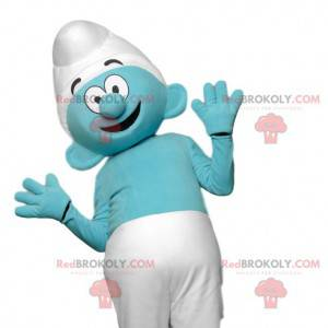 Mascota de Pitufo azul con su gorra blanca - Redbrokoly.com