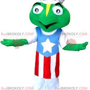 Kikker mascotte gekleed met een koksmuts en een schort -