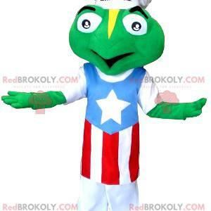 Mascota de la rana vestida con un gorro de cocinero y un