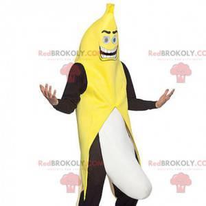 Gigantische zwart-wit gele banaan mascotte - Redbrokoly.com