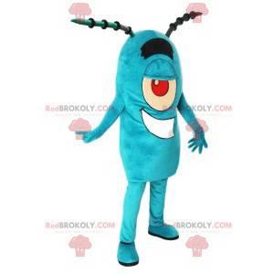 Turquoise cyclops monster mascotte met antennes - Redbrokoly.com