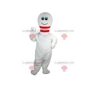 Roztomilý a usměvavý bílý bowling pin maskot - Redbrokoly.com