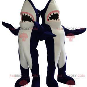 2 riesige Maskottchen mit blauen und weißen Haien -