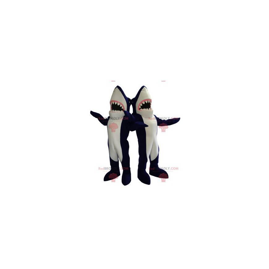 2 obří maskoti modrých a bílých žraloků - Redbrokoly.com