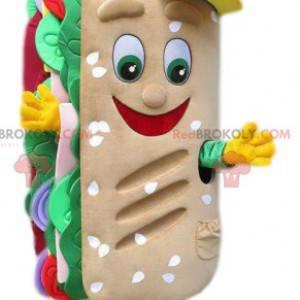 Mascot gourmet ensalada de panini, tomates y cebollas -