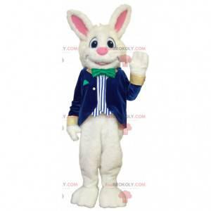 Cheerful white rabbit mascot in blue and white costume -