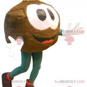 Großes braunes Maskottchen mit rundem Kopf - Redbrokoly.com