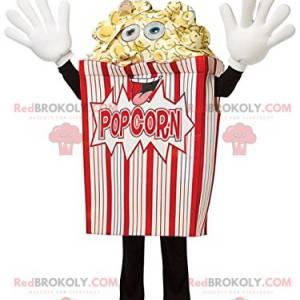 Mascote de cone de pipoca vermelha e branca maluca -