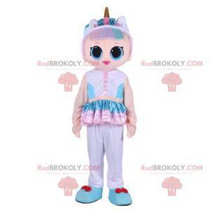 Mascote da boneca de fantasia rosa com seu chifre dourado -
