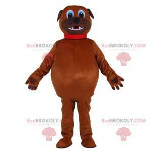 Baculatý hnědý psí maskot s červeným límcem - Redbrokoly.com