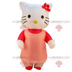 Mascotte Hello Kitty met haar roze jurk en rode bloem -