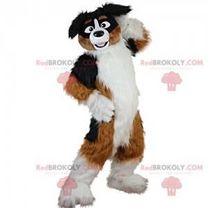 Very cheerful large brown and white dog mascot - Redbrokoly.com