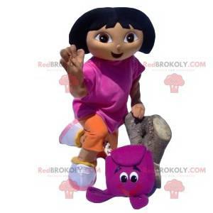 Dora the Explorer-mascotte met haar fuchsia rugzak -