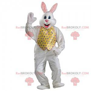 White rabbit mascot with his jacket and yellow bow tie -