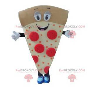 Mascote de pizza muito engraçado, com chouriço e creme -