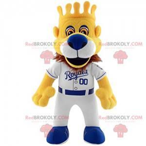 Lion Royal mascotte met zijn honkbal-outfit en zijn kroon -