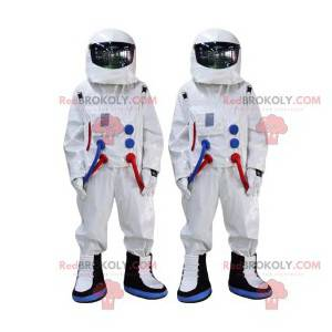 Astronaut mascot duo with their white jumpsuit - Redbrokoly.com