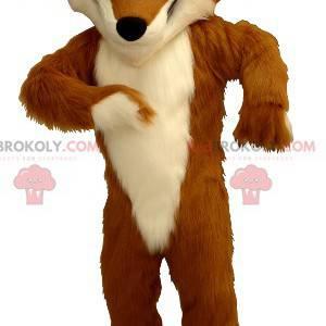 Mascote raposa laranja e branca com tênis - Redbrokoly.com