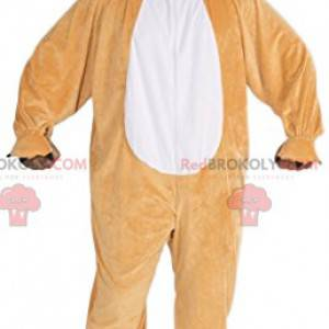 Lustiges beige Bärenmaskottchen mit seiner roten Zunge -
