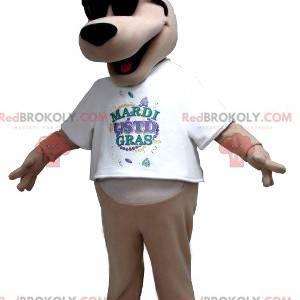 Beige dog mascot with a king's fool hat - Redbrokoly.com