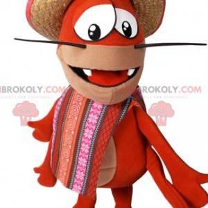 Maskotka homara z jego słomkowym kapeluszem i fartuchem -